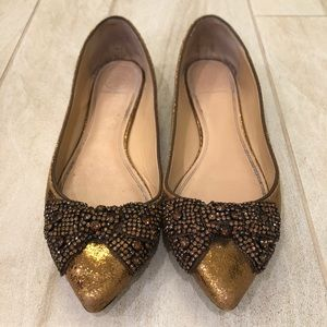 Preloved Tory Burch Metallic Bronze Leather Flats
